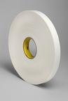 3M™ Double Coated Polyethylene Foam Tape 4466 White, 1 in x 36 yd 1/16 in