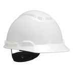 3M™ Hard Hat, White 4-Point Ratchet Suspension H-701R