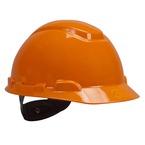 3M™ Hard Hat, Orange 4-Point Ratchet Suspension H-706R