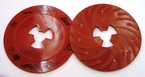 3M™ Disc Pad Face Plate Ribbed 80514, 7 in Extra Hard Red