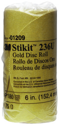 3M™ Stikit™ Gold Disc Roll, 01209, 6 in, P180A