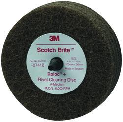 Scotch-Brite™ Rivet Cleaning Disc 07410, 4 in x 1-1/4 in A MED