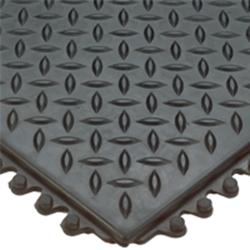 Modular Diamond-Plate Grease Proof 3' x 3' Black