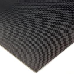 Corrugated Switchboard Matting 3' x 75' Black w/Yellow Borders